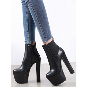 Women Ankle Boots Black Leather Round Toe Block Heel Booties #10690919598