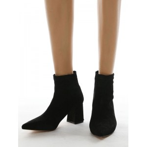 Women Ankle Boots Black Micro Suede Upper Pointed Toe Chunky Heel Booties #10690931416