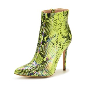 Women Ankle Boots Green Leather Pointed Toe Zipper Stiletto Heel Snakeskin Print Booties At Target #10690921660