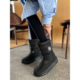 Women Ankle Boots PU Leather Black Round Toe Snow Boot shopping #10690930808