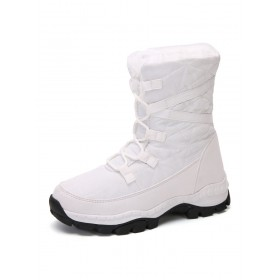 Women Ankle Boots White Elastic Fabric Round Toe Flat Lace Up Snow Boots Trends 2021 #10690933256