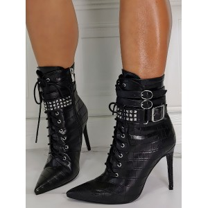Women Black Ankle Boots PU Leather Rivets Pointed Toe Sky High Heel Booties #10690929256