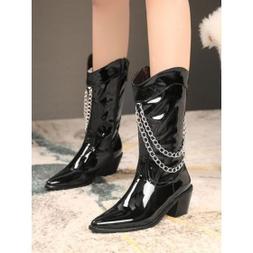 Women Mid Calf Boots Black Pointed Toe Leather Chain Detail Zip Up Wide Calf Boots On Line #10700919206