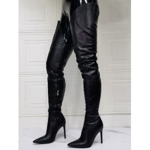 Women Over The Knee Boots Black Pointed Toe Stiletto Heel Sky High Boots Cheap #10720933978