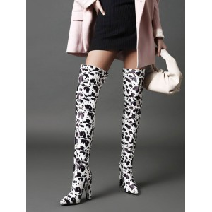 Womens Black Over The Knee Boots Leather Pointed Toe Chunky Heel Boot #10720929094