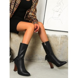 Women's Boots Black Mid-Calf Boots Leather Pointed Toe Boots On Line #10700922660