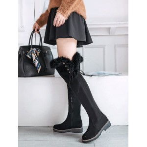 Women's Over The Knee Boots Black Micro Suede Upper Black Round Toe #10720923708