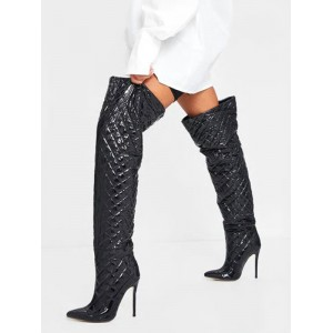 Women's Over The Knee Boots Black Pointed Toe Upper Stiletto Boots #10720924574