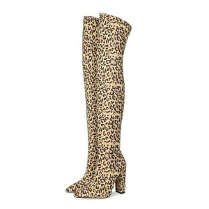 Womens Over The Knee Boots Elastic Fabric Leopard Pointed Toe Chunky Heel Boots #10720933318
