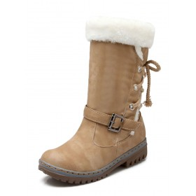 Womens Snow Mid Calf Round Toe Buckle Flat Winter Boots most comfortable #10700883686