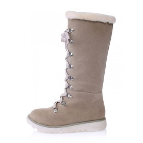 Women's Winter Boots Suede Ecru White Round Toe Lace Up Flat Boots #10700710712
