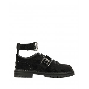 Women Mid Heels Loafers Near Me - Women Laced shoes Soft Leather, Textile fibers NU8CE2248