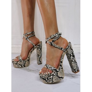 Evening Platforms PU Leather Open Toe High Heel Python Party Shoes Lace Up Heels #32880952736