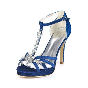 Glitter Platform Wedding Shoes T-bar Crystal High Heel Strappy Sandals for Party most comfortable #32840882184
