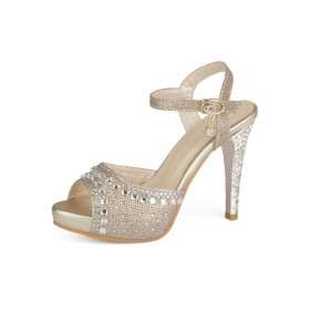 Gold Evening Shoes Women Peep Toe Rhinestones High Heel Sandals Mother Of The Bride Shoes #32840813726