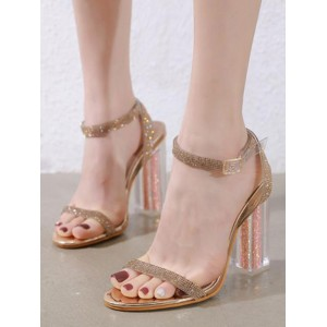 Heel Sandals Blond Chunky Heel Square Toe Sequined Cloth Ankle Strap Heels Clearance #113240953674
