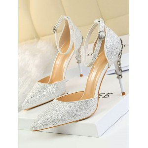 Heel Sandals Sliver Stiletto Heel Pointed Toe Sequined Cloth Ankle Strap Heels Or Sale Near Me #113240951306