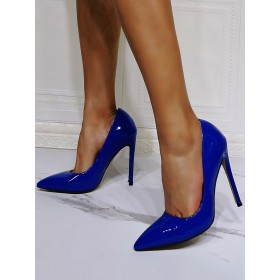 High Heel Party Shoes Blue Pointed Toe Patent PU Evening Shoes Stiletto Heels on style #32860955180