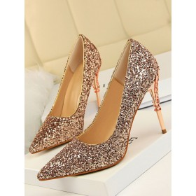 High Heel Party Shoes Champagne Pointed Toe Sequins Evening Shoes Stiletto Heels sale next #32860952730