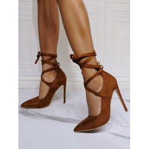 High Heel Party Shoes Coffee Brown Pointed Toe Stiletto Heel Lace Up Evening Shoes Clearance Sale #32860955170