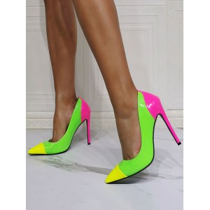 High Heel Party Shoes Grass Green Pointed Toe Stiletto Heel Evening Heels Online Wholesale #32860955072