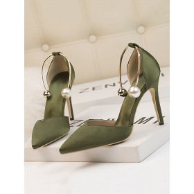 High Heel Party Shoes Olive Pointed Toe Stiletto Heel Sequins Evening Shoes Ankle Strap Heels #32860952636