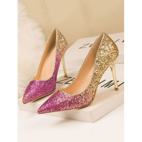 High Heel Party Shoes Pink Gold Pointed Toe Sequins Evening Stiletto Heels in style #32860953338