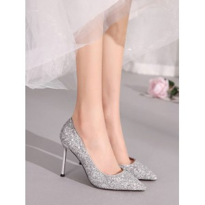 High Heel Party Shoes Red Pointed Toe Sequined Cloth Evening Shoes #32860907866