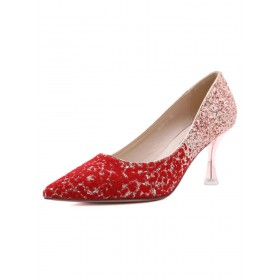 High Heel Party Shoes Red Pointed Toe Sequins Stiletto Evening Shoes Deals #32860928202