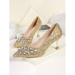 High Heel Party Shoes Sequined Pointed Toe Rhinestones Evening Shoes For Sale #32860920372