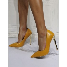 High Heel Party Shoes Yellow Pointed Toe Stiletto Heel Patent PU Upper Evening Shoes online shopping #32860955792