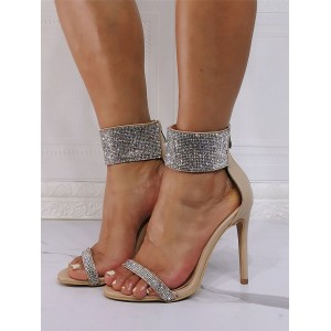 High Heel Sandals Light Apricot PU Leather Open Toe Rhinestones Evening Shoes Party Shoes #32840945992