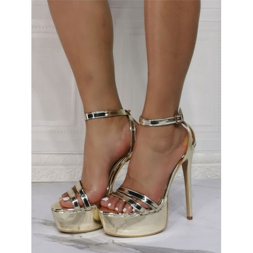 High Heel Sexy Sandals Blond Patent PU Upper Open Toe Stiletto Heel Sexy Ankle Strap Heels Casual #12400943164