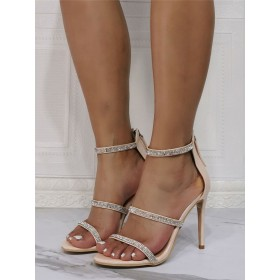 Sexy Sandals For Woman Apricot Patent PU Upper Open Toe Stiletto Heel Rhinestones Sky High Sexy Ankle Strap Heels sale next #12400943162