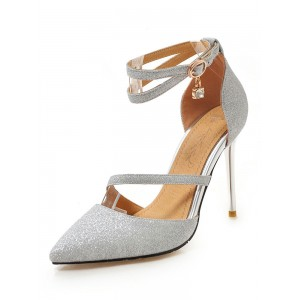 Silver High Heels Glitter Pointed Toe Ankle Strap Prom Shoes Women Evening Shoes #32860842696