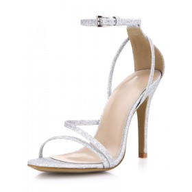 Silver Prom Heels Glitter Strappy Sandals Wedding Shoes quality #32840567687