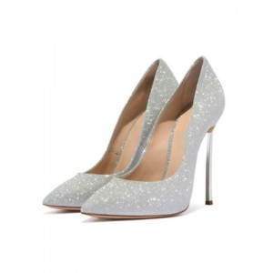 Silver Prom Heels Sparkly Ultra High Heel Sexy Pumps Pointed Toe Wedding Shoes Fit #32860885518