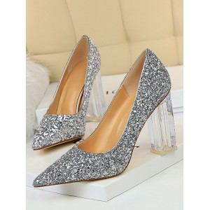 Silver Prom Shoes Glitter Pumps Pointed Toe Transparent Chunky Heel Party High Heels Or Sale Near Me #32860896860