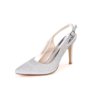 Slingback Silver Prom Shoes Glitter High Heels Pointed Toe Party Shoes on sale online #32860885586