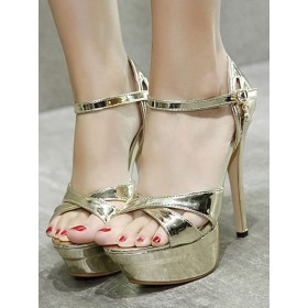 Women High Heel Sexy Sandals Blond PU Leather Square Toe Stiletto Heel Sexy Ankle Strap Heels #12400940426