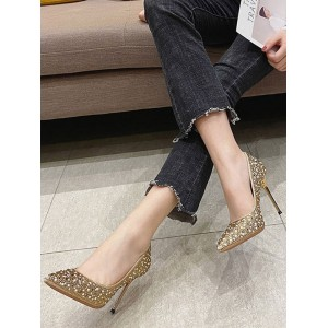 Women Rhinestones Evning Shoes Pointed Toe Stiletto High Heel Pumps Clearance #23600930962
