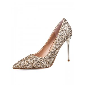 Women's Glitter Prom Shoes Pointed Toe Stiletto High Heel Pumps Selling Well #23600692074