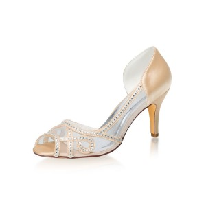 Women's High Heel Party Shoes Champagne Peep Toe Rhinestones Evening Shoes lifestyle #32860895604