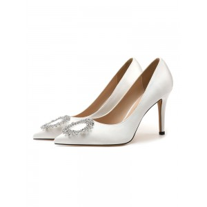 Women's High Heel Party Shoes White Pointed Toe Metal Details Evening Shoes Hot Sale #32860924336