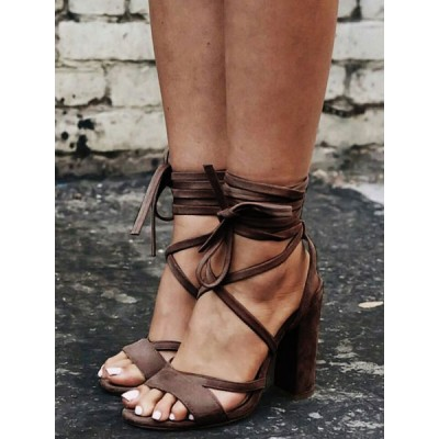 Apricot Suede Strappy Heels Lace Up Chunky Heel Sandals stores #15310758914