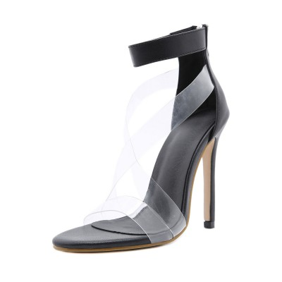 Black Ankle Strap Heels Clear Strappy Stiletto Heel Sandals hot topic #113240938360