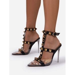 Black T-Strap Heels Pointed Toe Stiletto Heel Patent Leather Transparent PC Rivets Sexy Sandals Design #113240940626