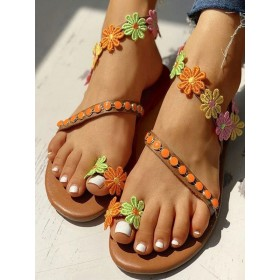 Flat Sandals For Women Flowers Flat PU Leather Chic Coffee Brown Summer Sandals #32740946076