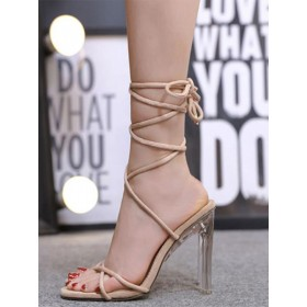 Heel Sandals Apricot Clear Heel Square Toe PU Leather Lace Up Heeled Sandals The Most Popular #113240945036