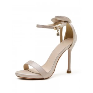 Heel Sandals Apricot Spike Heel Round Toe Silk And Satin PU Leather Pumps Ankle Strap Heels quality #113240948130